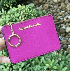 Michael Kors Coin Pouch ID Wallet Key Chain Fuscia
